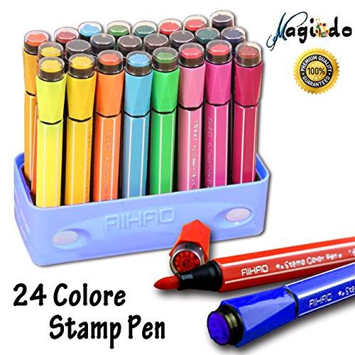 Magicdo 24 Farben Aquarell Stifte mit Briefmarken, waschbar ungiftig bunte Marker Stift für Kinder zeichnen, Kritzeln & Färben (Hydra Farbton)