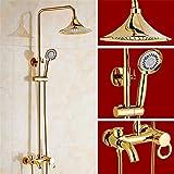 QINLEI kupfer - gold - dusche hat europäische antike führt in die wand top - spray regen hand dusche kalt - und warmwasser - dusche.