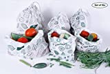 #5: Clean Planet (Eco Veggie Set of 6) Eco-Friendly Produce Storage Bag for Fridge & kitchen to keep Fruits and Veggies Fresh and Toxin Free. Handmade, Reusable, Washable, Non-Toxic, Multipurpose Grocery Bags.