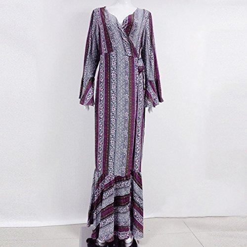 QIYUN.Z Frauen V-Ausschnitt Böhmischen Reich Taille Strand Sundress Maxi Wrap Kleid Deckung Grau Lila