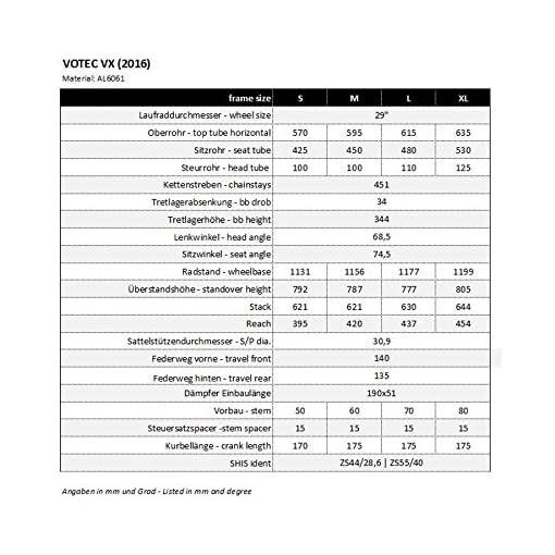 'VOTEC VX Evo DI2–Touren/Trail FULLSUSP ension 29–ano. Black Matt/Dark Grey Glossy 2016MTB Fully
