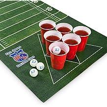 Mantel para Juego de Beer Pong Evil Jared´s   60 Vasos Rojos + 6 Pelotas de Ping Pong   Diseño Campo de Fútbol Americano   180 x 60 cm