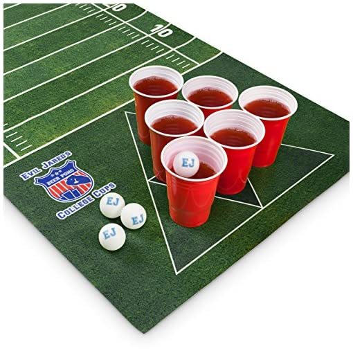 Evil-Jareds-Beer-Pong-Matte-Set-180-x-60-cm-Wasserfest-und-Reifest-Inkl-60-Red-Cups-6-Ping-Pong-Blle-American-Football-Design-Trinkspiel Evil Jared's Beer Pong Matte Set | 180 x 60 cm Wasserfest und Reißfest | Inkl. 60 Red Cups + 4 Mini Shot Cups + 6 Ping Pong Bälle | American Football Design Trinkspiel -