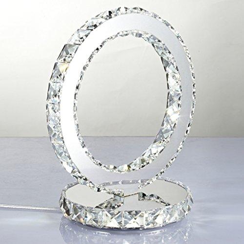 Kreative Edelstahl Kristall Tischlampe moderne Art Nachttischlampe einfaches Schlafzimmer trendy Kristall LED Kristall Lampe doppelseitig (weiß) - Lampe Moderne Tischlampe