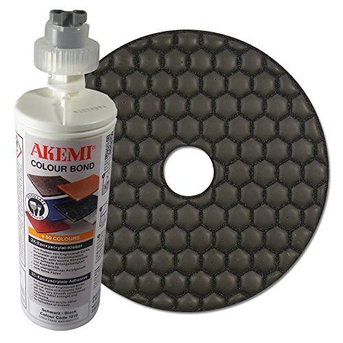 I Colour Bond 2K-Epoxyacrylat-Kleber, schwarz, 250 ml + Diamant Schleifpad 125 mm, Körnung Polierer, für Trockenschliff ()