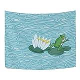 Diseño de rana, color verde y blanco flor de loto poliéster decoración del hogar tapices...