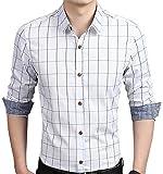 AIYINO Herren Casual Hemd Slim Fit Langarm Shirts Freizeit Baumwolle 5 Farben Größen XS-XL (Large, Weiß)