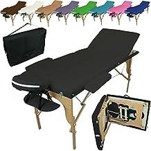 Linxor ® Mesa de masaje plegable 3 zonas de madera con panel de Reiki + accesorios y bolsa de transporte - Nueve colores - Norma CE
