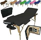 Linxor France ® Table de massage pliante 3 zones en bois avec panneau Reiki + accessoires et housse de transport, Noir