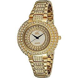 Adee Kaye Majesty Damen Gold Blech Armband Blech Gehäuse Uhr ak9-30LG/CR