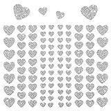 Oblique Unique - 106 Herz Aufkleber mit Glitzer Effekt in Silber I Herzen Sticker I Scrapbooking Dekoration Liebe Kinder Geburtstag