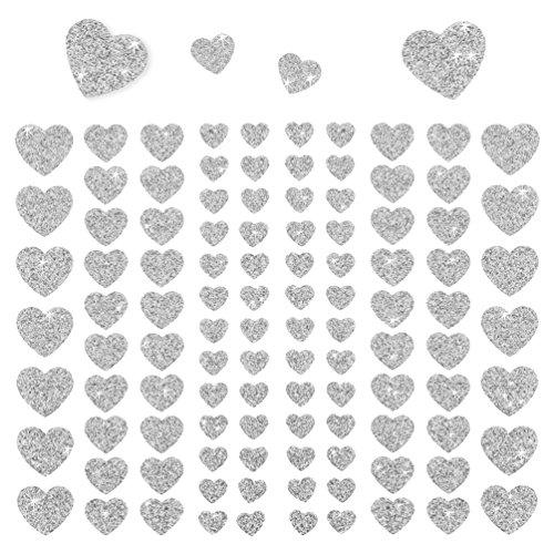 Oblique-Unique® - 106 Herz Aufkleber mit Glitzer Effekt in Silber I Herzen Sticker I Scrapbooking Dekoration Liebe Kinder Geburtstag