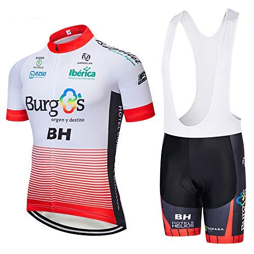 SUHINFE Traje Ciclismo Hombre, Maillot Ciclismo y Culotte Ciclismo con 5D Gel Pad para Verano Deportes al Aire Libre Ciclo Bicicleta, BH-White, L