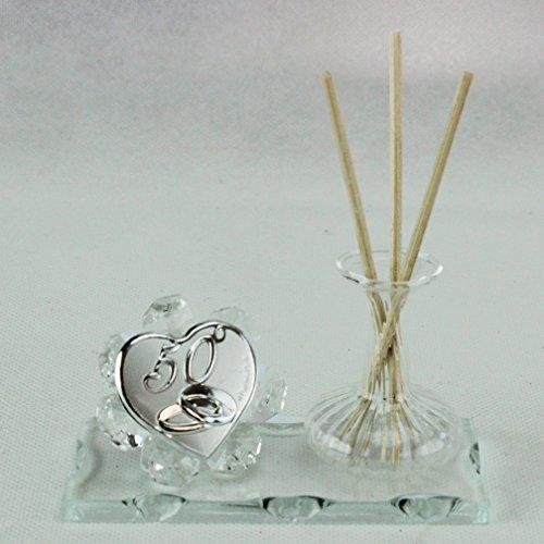 Dlm26419-trasparente profumatore in vetro soffiato e cristallo 50 anniversario nozze matrimonio_trasparente bomboniera