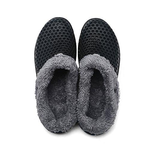 JACKSHIBO Unisex Adulto Estate Invernali Pantofole Confortevole Caldo Pantofole Scarpe da Casa Nero