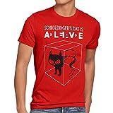 style3 Sheldon Schroedingers Katze Herren T-Shirt, Größe:L;Farbe:Rot