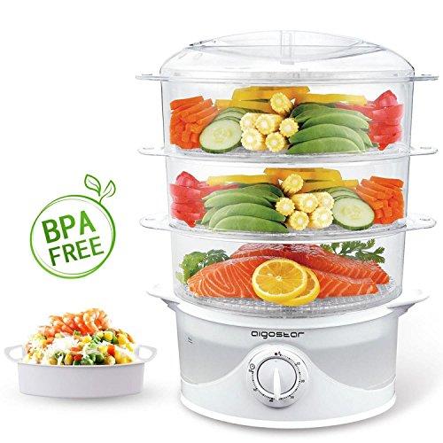 Aigostar Fitfoodie 30CFO - Cuiseur vapeur électrique 0% BPA. Puissance de 800W, minuterie, 3 niveaux indépendants de cuisson....