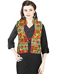 VASTRAA FUSION BLACK, BLUE, RED MULTICOLOURED EMBROIDERED COTTON COLLARED JACKET WITH PINK PIPING - XXL