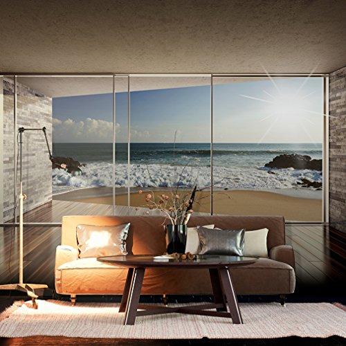 Fototapete Fenster zum Meer 350x245 cm XXL | VLIES TAPETE - Moderne Wanddeko - Fototapete 3D Illusion - Riesen Wandbild - Design Tapete - Schlafzimmer, Wohnzimmer, Kinderzimmer geeignet | Fototapeten Wandtapete FOB0064b73XL