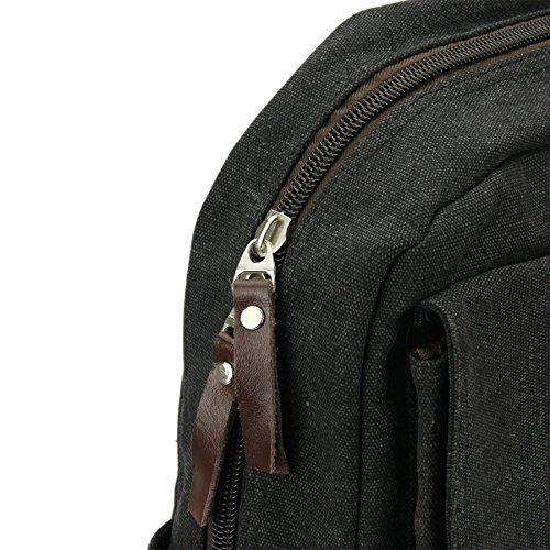 Liying Neu Vintage Canvas Rucksack Schulrucksake Backpack Rucksack Laptop für Studenten für Reisen Computer Outdoor Camping Picknick Sports Schultasche 40cm*18cm*28cm Braun Schwarz