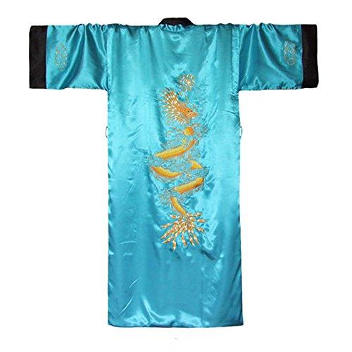 (Japanischer Wende-Kimono Satin Morgenmantel für Damen & Herren mit Drachen-Stickerei Türkis)