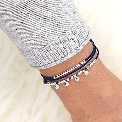 Bracelet cordon trois tours perles et jonc pour femme