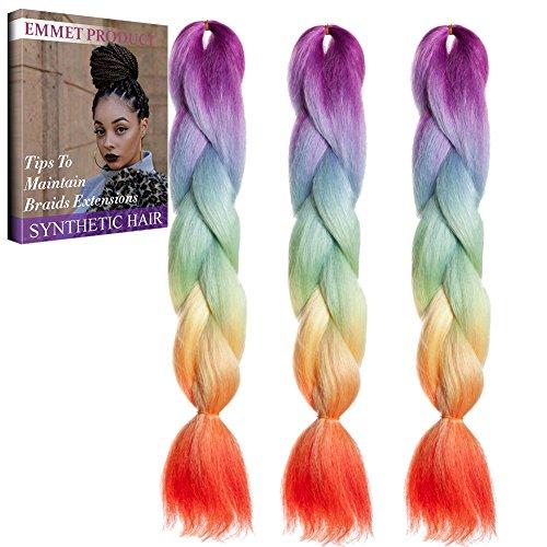 Jumbo Braids-Premium Qualität 100% Kanekalon Braiding Haarverlängerung Full Bundles 100g / pc Synthetik Haar Ombre 24Inch 3Pcs / lot Hitzebeständig, lange Zeit mit-37 Farben 2Tone & 3Tone, Garantie 1 Woche ändern oder Rückerstattung (Ombre Farbe 25)