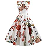 MRULIC Robe Femme de Soiree Women Vintage Printing Bodycon Sleeveless Halter Evening Party Prom Swing Dress