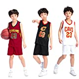 Kinder Jungen Cleveland Cavaliers Lebron James # 23 Basketball Shorts Sommer Jerseys Basketball Uniform Top und Shorts Basketball Anzug