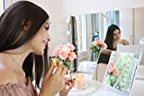 light up vanity makeup mirror - with illuminated led lights - perfect lighting for skincare - magnification for mascara and eyeliner - ideal for bedroom dressing table or bathroom - women accessories