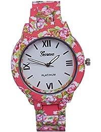 c38a41418 CREATOR GENEVA Platinum Rose Flower Designer Strap Watch For Women And Girls