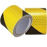 Tuqiang® 300cm × 5cm Noir avec Jaune sergé Bande réfléchissante Autocollant d'avertissement de sécurité de visibilité Nuit Bande réfléchissante ruban film autocollant