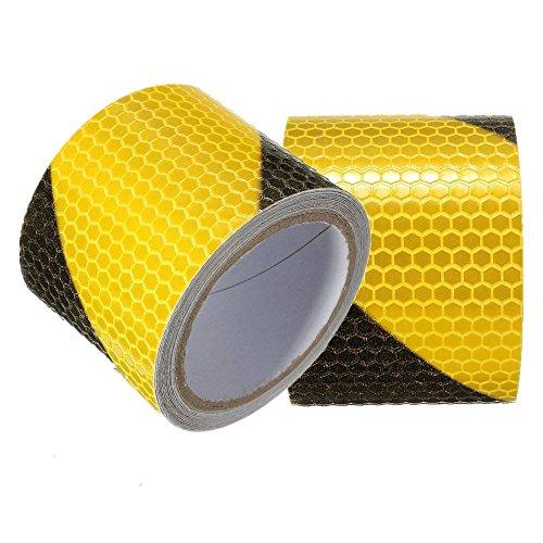 Tuqiang® - Ruban adhésif réfléchissant, bande réfléchissante de sécurité autocollante, avertissement et visibilité de nuit, film autocollant - 5 cm x 300 cm - Motif noir et jaune croisé