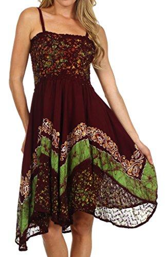 Sakkas 55341 Aphrodite gestickte Batik-Kleid - Schokolade / Grün - One Size