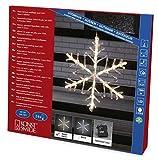 Konstsmide 4540-103 LED Acrylsilhouette 'Schneeflocke' / für Außen (IP44) /  Batteriebetrieben: 4xAA 1.5V (exkl.) / mit 6h Timer / 24 warm weiße Diode / transparentes Kabel