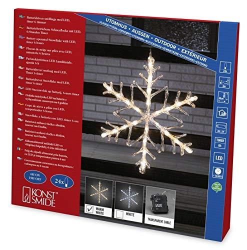 """Konstsmide 4540-103 LED Acrylsilhouette \""""Schneeflocke\"""" / für Außen (IP44) /  Batteriebetrieben: 4xAA 1.5V (exkl.) / mit 6h Timer / 24 warm weiße Diode / transparentes Kabel"""