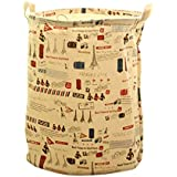 Vollter Cestas puerto de la viga del lazo plegable de lavandería Bolsa Cesto de impresión ropa barril de almacenamiento