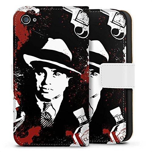 Apple iPhone 6 Hülle Case Handyhülle Al Capone Pate Mafia Gangster Sideflip Tasche weiß
