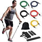 LIVEHITOP Exercise Resistance Bands Set, Fitness Tubes Strength Training Equipment with Door Anchor, 2 Ankle Strap, 2 Foam Handle, Carry Pouch for Building Muscle, Fat Loss, Exercise, Yoga, Men, Women