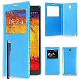 VCOMP Etui Housse Coque Flip Cover View Compatible pour Samsung Galaxy Note 3 Neo/Lite Duos 3G LTE SM-N750 SM-N7505 SM-N7502 + Stylet - Bleu