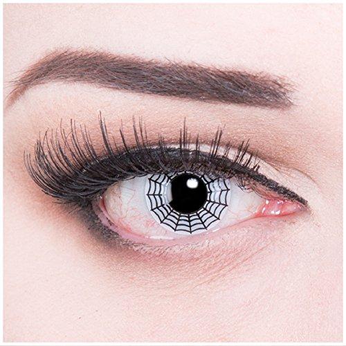 (Funnylens 1 Paar farbige weisse schwarze Crazy Fun Spider Jahres Kontaktlinsen mit gratis Linsenbehälter. Perfekt für Halloween,Fasching und Karneval ohne Sehstärke!)