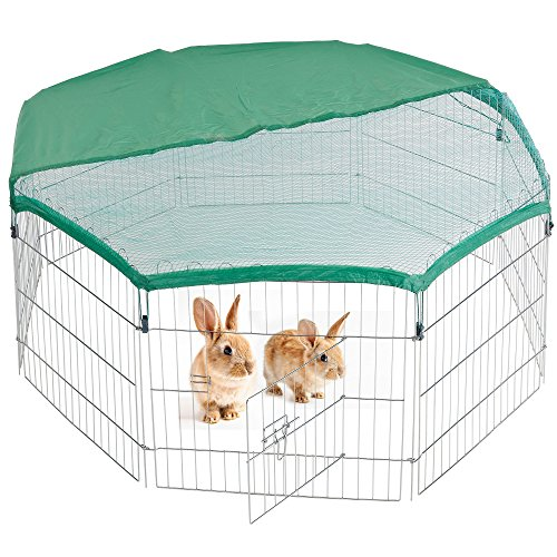 Milo & Misty Playpen for pets. Folding and Portable Outdoor Cage for Dog, Puppy, Rabbit, Guinea Pig. 60 x 60 8 Steel Panel with SAFETY & Sun Protection Net Cover