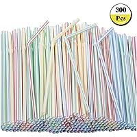 Pajitas de plástico flexibles, 300 unidades, multicolor, sin BPA, desechables, de