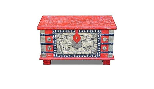 Festnight Vintage Pirate Treasure Chest Storage Box Storage Chest Mango Wood 80x40x45 cm Blue