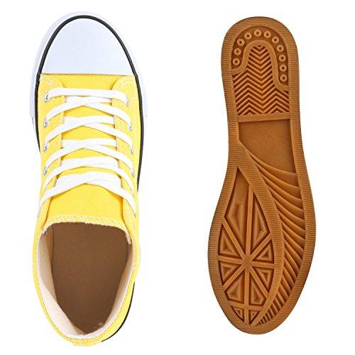Freizeit Damen Sneakers High Canvas Schuh Gelb