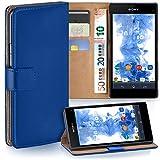moex Sony Xperia Z1 Compact | Hülle Blau mit Karten-Fach 360° Book Klapp-Hülle Handytasche Kunst-Leder Handyhülle für Sony Xperia Z1 Compact / Z1 Mini Case Flip Cover Schutzhülle Tasche