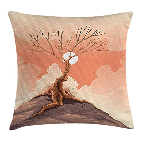 VVIANS Modern Decor Throw Pillow Cushion Cover, Lonely Tree on Top of The Cliff Rock Above The Moon Magistic Scenery Print, Decorative Square Accent Pillow Case, 18 X 18 Inches, Orange Brown