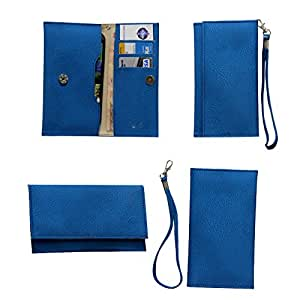 Jo Jo A5 G8 Leather Wallet Universal Pouch Cover Case For Sony Xperia E dual Exotic Blue