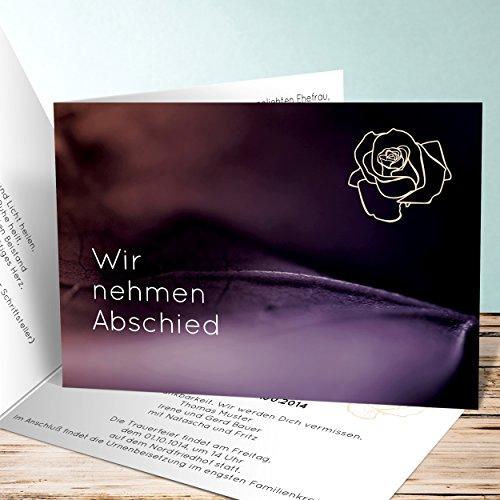 Einladungskarten Beerdigung, Blätterfokus 55 Karten, Horizontale Klappkarte 148x105 inkl. weiße Umschläge, Lila