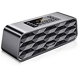 Enceinte Bluetooth SUMGOTT Radio FM Numérique, Portable Lecteur MP3 sans Fil Haut-Parleur Portable avec Pilotes Double Basse / Batterie Rechargeable / Fort Volume / Premium Stereo Sound